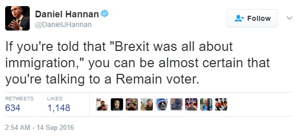 "Hannan: ""No one voted Leave because of immigration'"