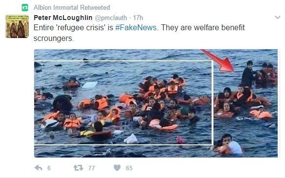 Picture of drowning migrants labelled 'scroungers'