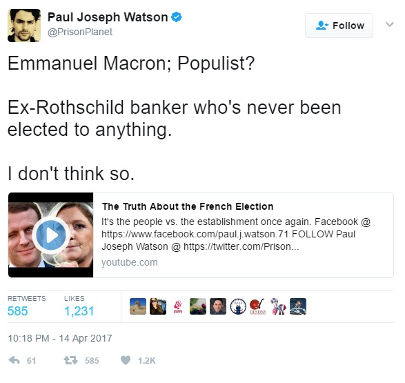 Tweet by wanker about Macron