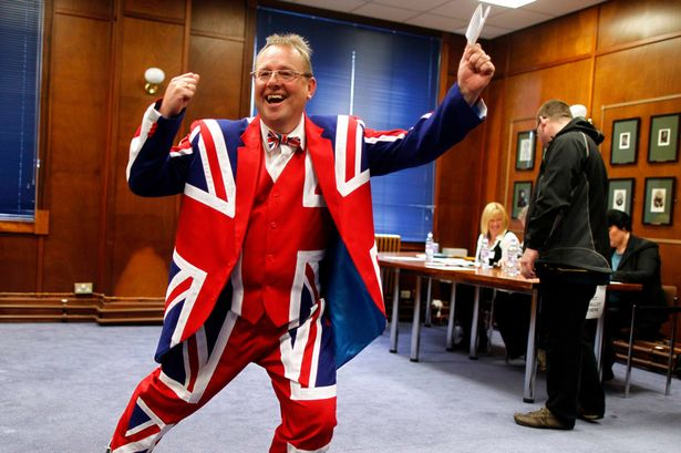 A tool in a union jack suit