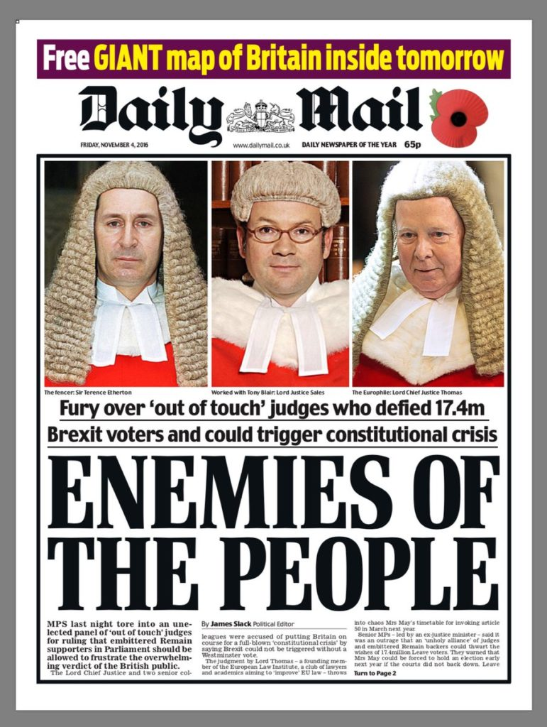 "Daily Cunt ""Enemies of the People"" headline"