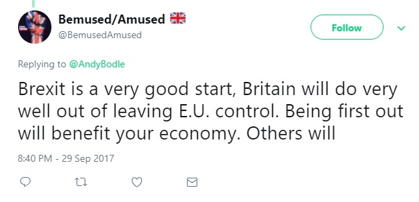 "Tweet: ""Being first out will benefit your economy"""
